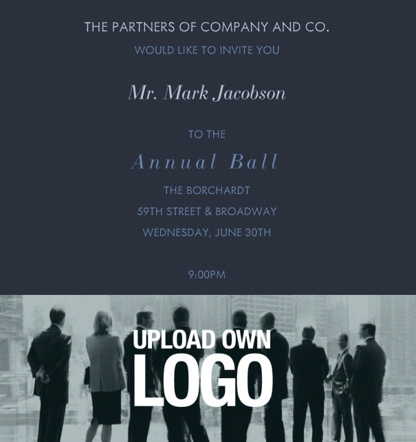 Corporate Gala Invitation Online with Blue Image and Formal Text.
