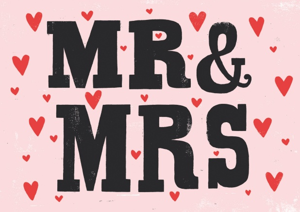 "Modern online card with red hearts and the black words ""Mr&Mrs""."
