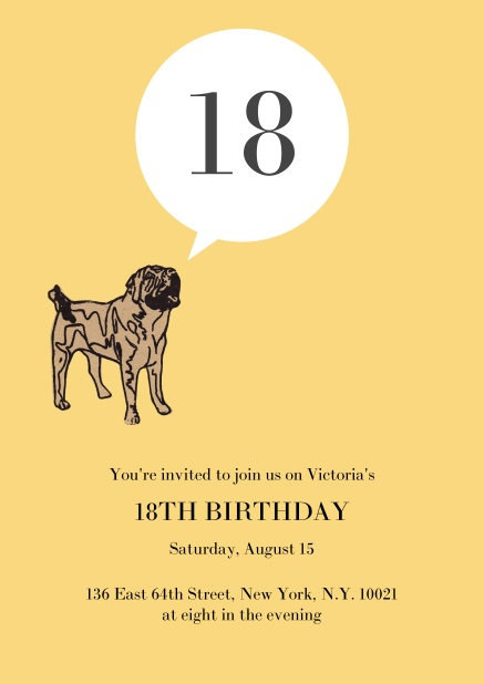 Online Birthday Invitation With Pug Barking The 18