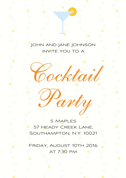 Online Cocktail party invitation card with a cocktail grass and yellow polka dot background.