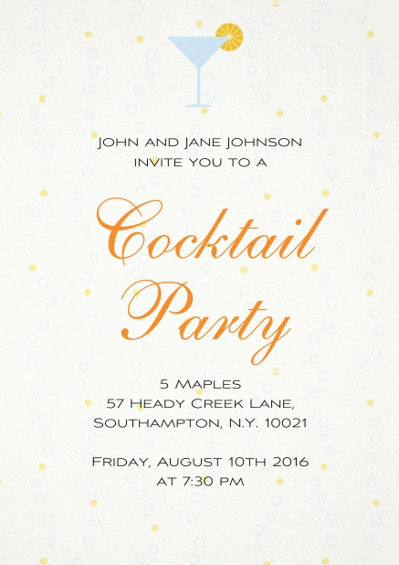 Cocktail party invitation card with a cocktail grass and yellow polka dot background.