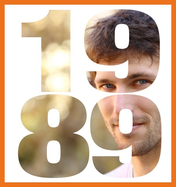 Large online invitation card for 30th birthday invitations with frame and year of birth 1989. Orange.
