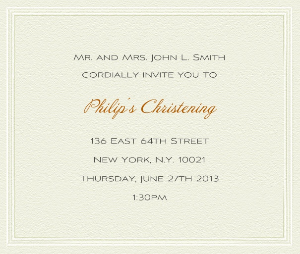 Paper color Invitation Template for Christening and Confirmation with integrated border.
