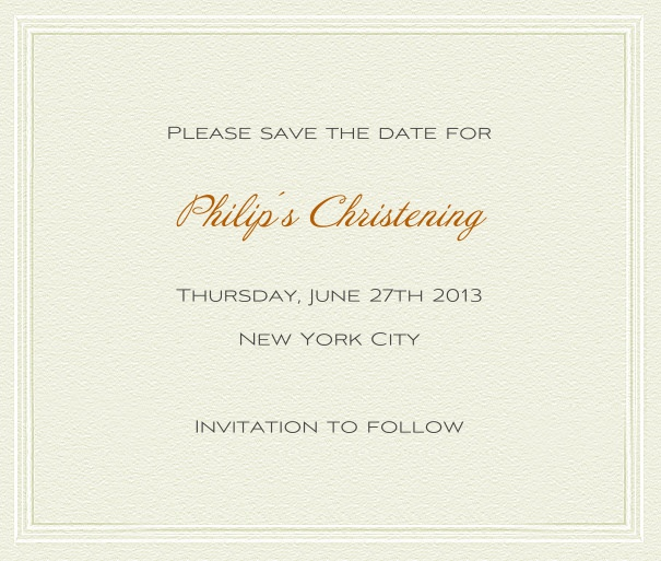 Paper Themed White Christening and Confirmation Save the Date card with thin border and green text.