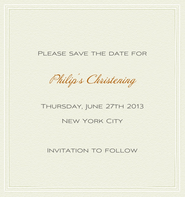 High format Paper Themed White Christening and Confirmation Save the Date card with thin border and green text.