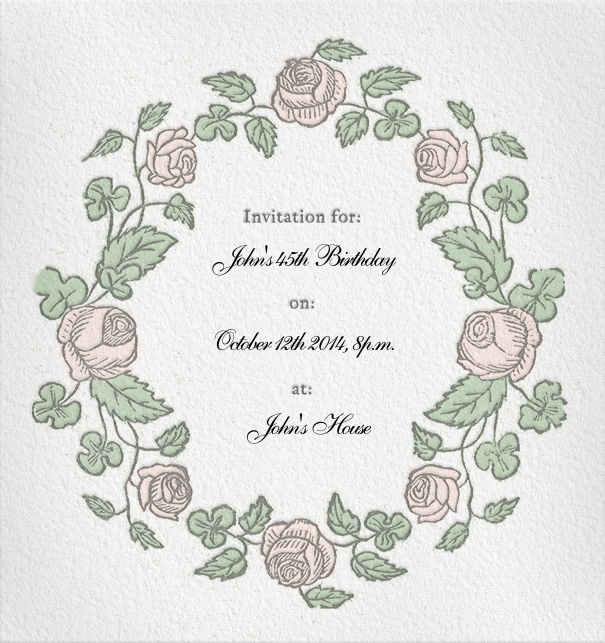 Formal Online Invitation with floral rose border.