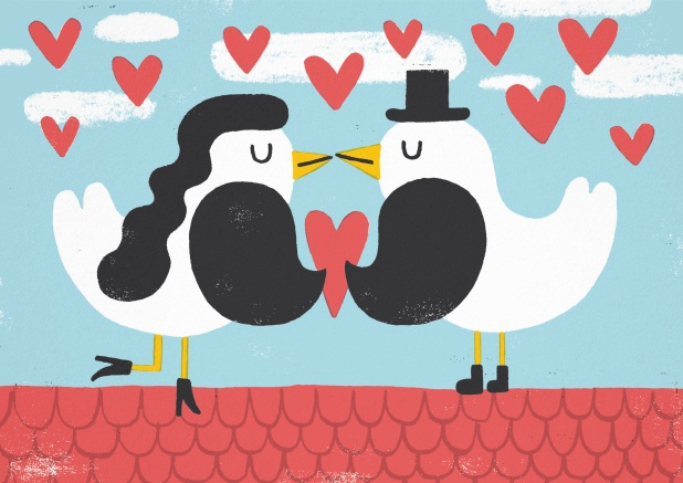 Invitation card with two love birds and hearts.