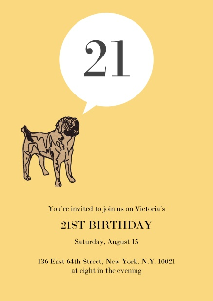 Online Birthday Invitation With Pug Barking The 21