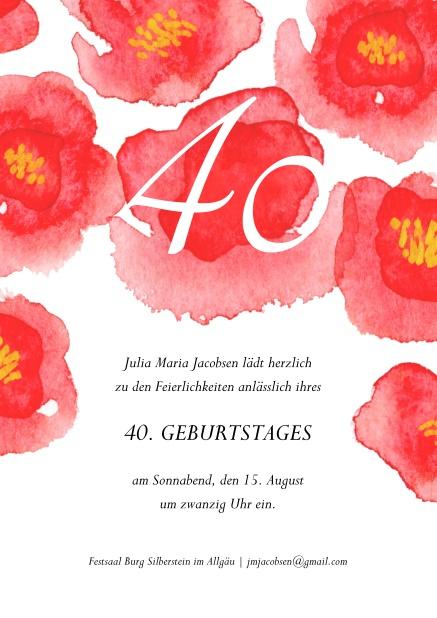 Online Einladung Mit Großen, Roten Blumen Oben Zum 40. Geburtstag.