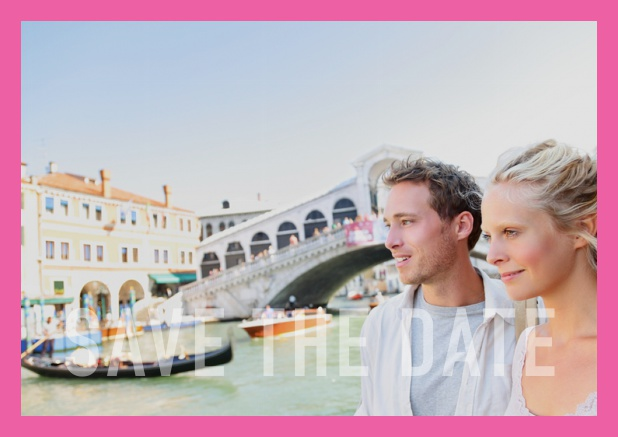 Online photo card with changeable photo, text Save the Date on the bottom and small frame. Pink.