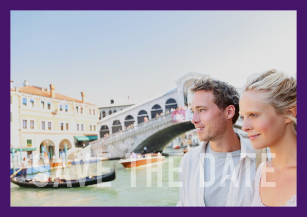 Online photo card with changeable photo, text Save the Date on the bottom and small frame. Purple.