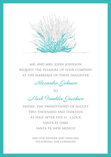 Online Wedding or summer invitation card with turquoise-grey coral and turquoise frame.
