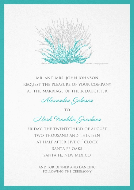 Wedding or summer invitation card with turquoise-grey coral and turquoise frame.