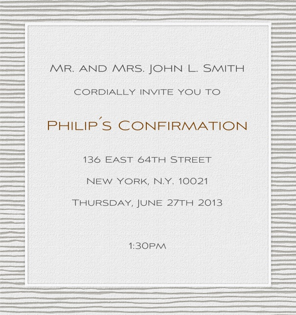 Grey Online Invitation for Christening and Confirmation with grey striped frame.