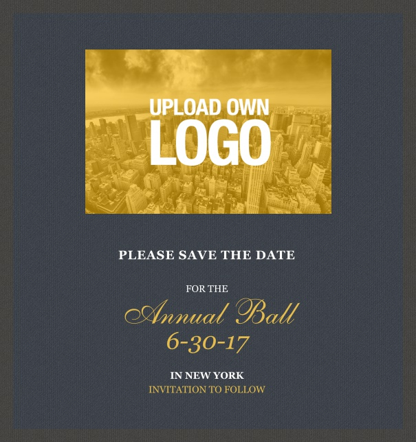Online Save the Date template for corporate events and annual ball with dark background and squared text box to upload own logo.