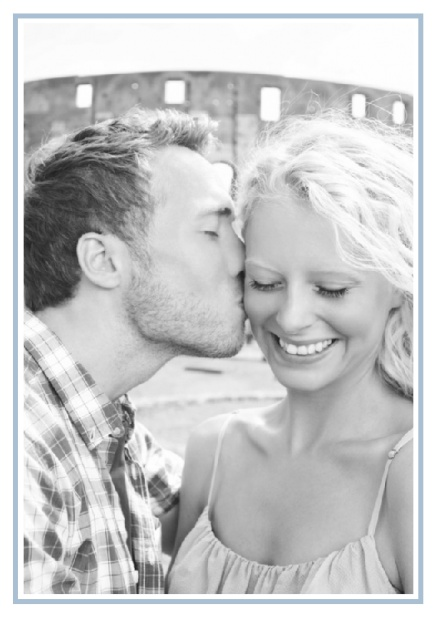 Online Classic Wedding save the date card in portrait with photo and fein lined frame in choosable colors. Blue.