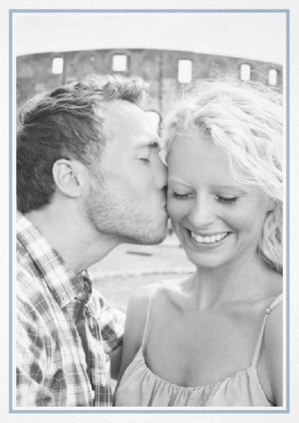 Classic Wedding save the date card in portrait with photo and fein lined frame in choosable colors. Blue.