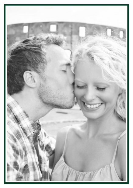 Online Classic Wedding save the date card in portrait with photo and fein lined frame in choosable colors. Green.