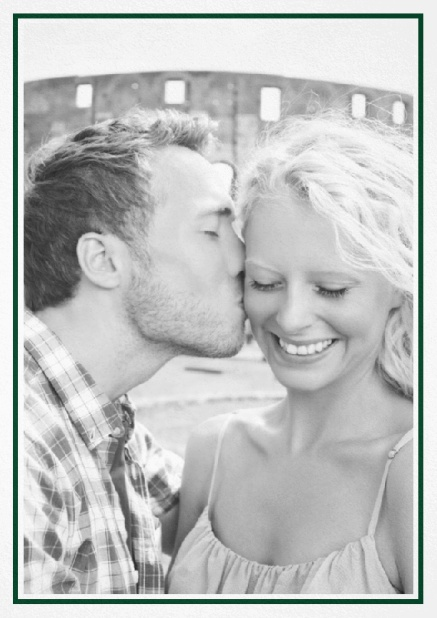Classic Wedding save the date card in portrait with photo and fein lined frame in choosable colors. Green.
