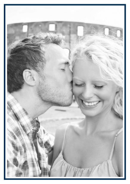 Online Classic Wedding save the date card in portrait with photo and fein lined frame in choosable colors. Navy.