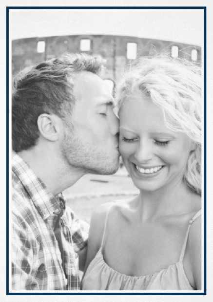 Classic Wedding save the date card in portrait with photo and fein lined frame in choosable colors. Navy.