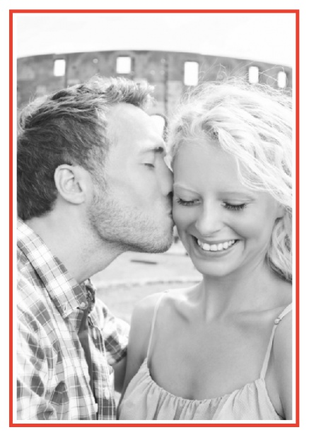 Online Classic Wedding save the date card in portrait with photo and fein lined frame in choosable colors. Red.