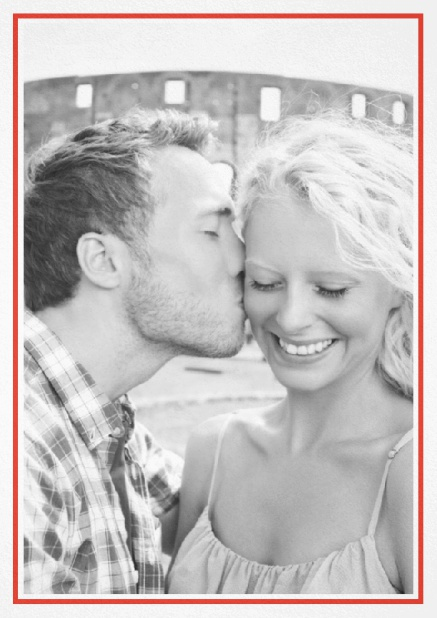 Classic Wedding save the date card in portrait with photo and fein lined frame in choosable colors. Red.