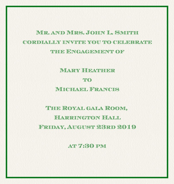 Online classic invitation card with thin fine frame in the color of your choice. Green.