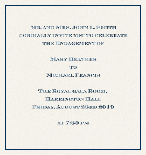 Online classic invitation card with thin fine frame in the color of your choice. Navy.