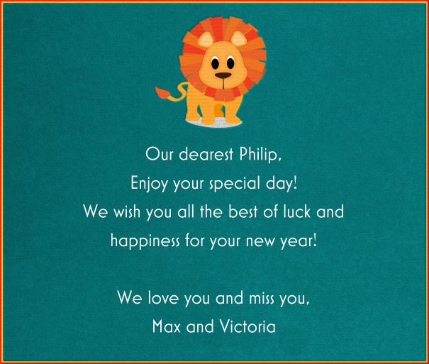 Green Children's Card with Cartoon Lion.