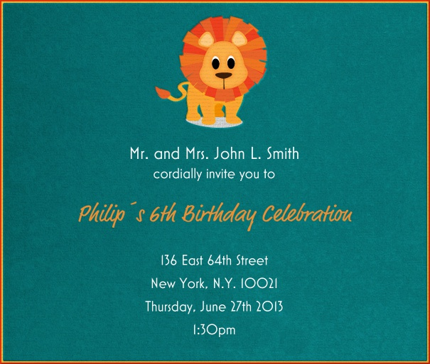 Turquoise Kids' Birthday Party Invitation Card with Cartoon Lion.