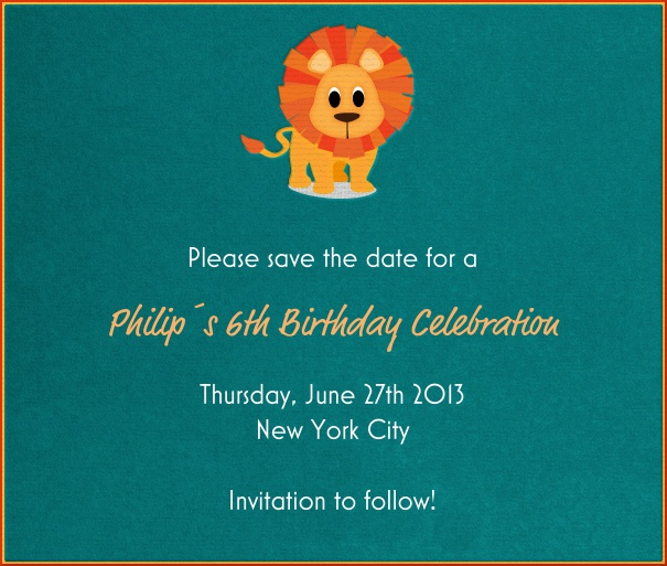 Turquoise Kids' Birthday Party Save the Date Design with Lion theme.