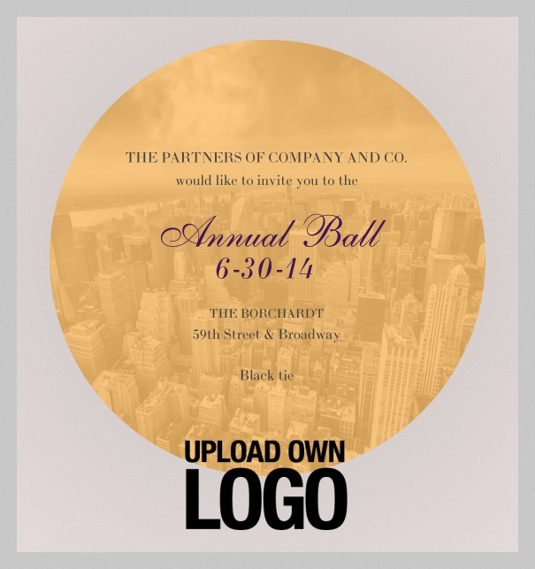 Light corporate invitation Online with round image frame and own logo.