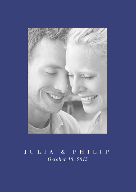 Online Wedding invitation card with one large photo box and text on the front page of a four paged design. Blue.