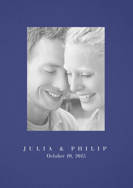 Wedding invitation card with one large photo box and text on the front page of a four paged design. Blue.