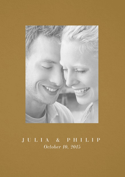 Wedding invitation card with one large photo box and text on the front page of a four paged design. Gold.
