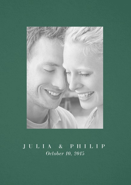 Wedding invitation card with one large photo box and text on the front page of a four paged design. Green.
