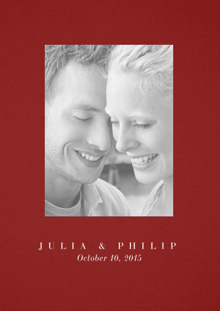 Wedding invitation card with one large photo box and text on the front page of a four paged design. Red.
