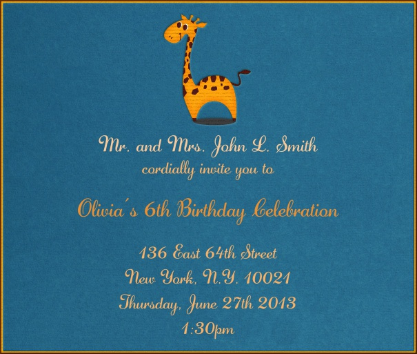 Aqua Kids' Birthday Party Invitation Card with Cartoon Giraffe.