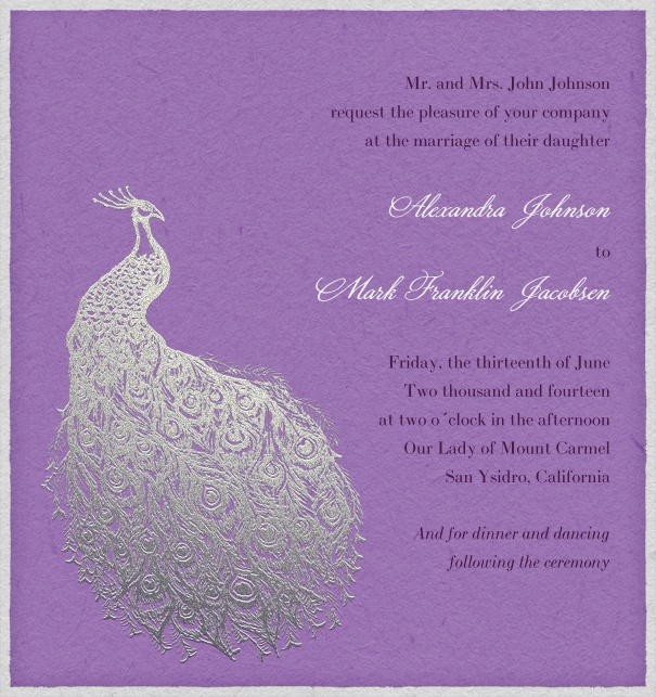 Purple Wedding Invitation with peacock.