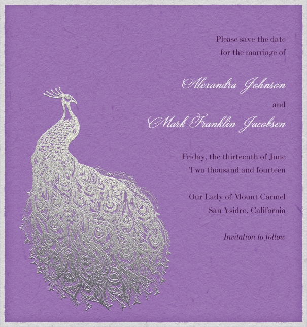 Purple Online Save the Date Card with peacock.