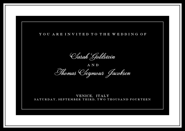 Online classic invitation card with green text field and border. Black.
