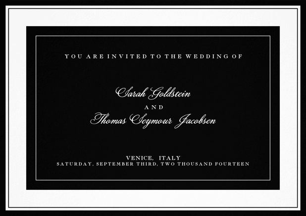 Classic wedding invitation template with frame and colorful text field. Black.
