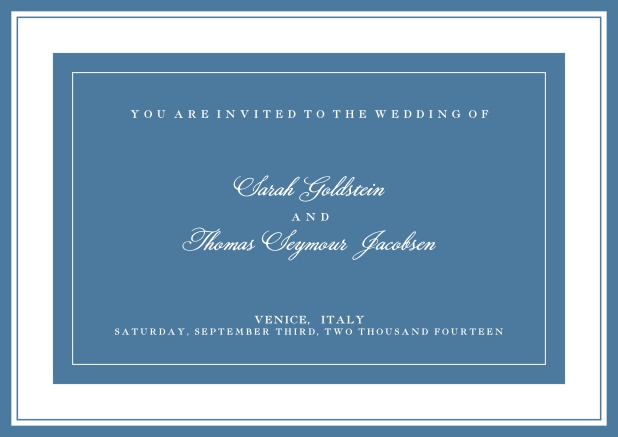 Online classic invitation card with green text field and border. Blue.