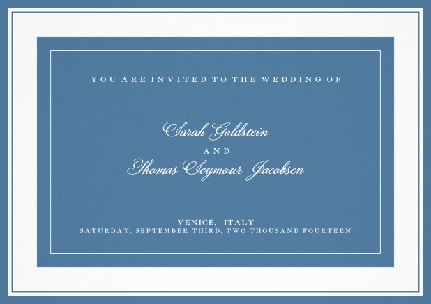 Classic wedding invitation template with frame and colorful text field. Blue.