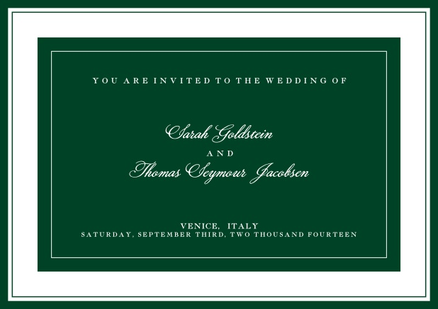 Online classic invitation card with green text field and border. Green.