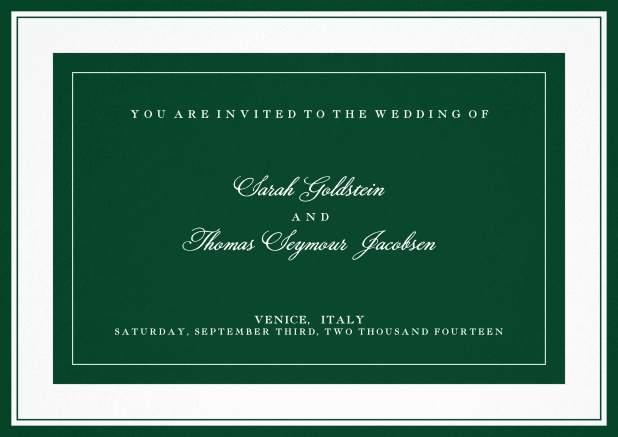 Classic wedding invitation template with frame and colorful text field. Green.