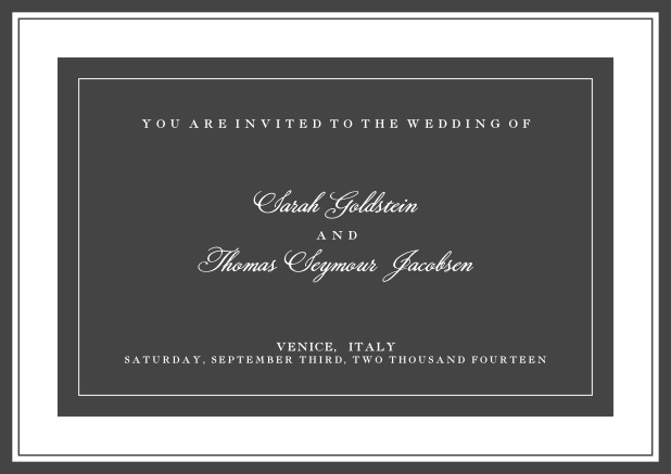Online classic invitation card with green text field and border. Grey.