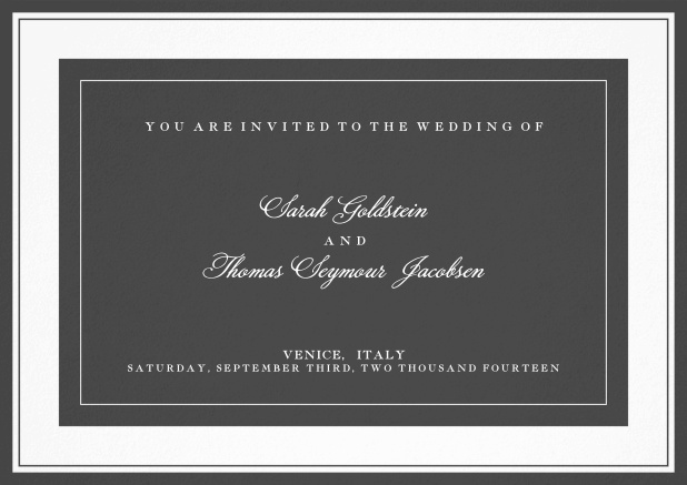 Classic wedding invitation template with frame and colorful text field. Grey.