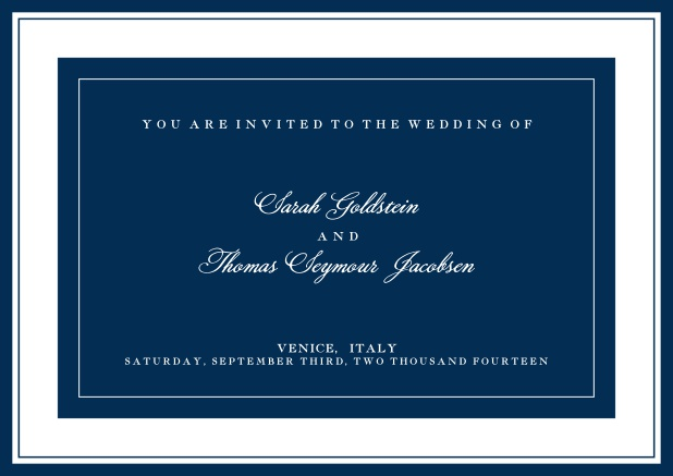 Online classic invitation card with green text field and border. Navy.